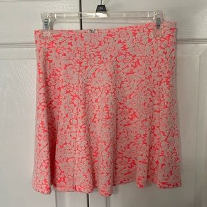 H&M Bright Pink and White Floral Skirt